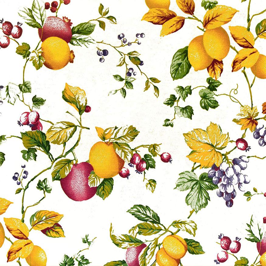 Tela loneta estampada frutas estilo clásico fondo crudo o crema