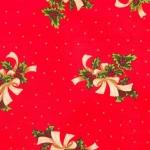 Tela loneta estampada Navidad estilo clásico piñas y estrellas fondo rojo