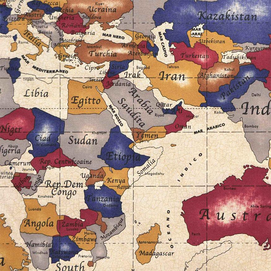 Tela loneta estampada mapamundi antiguo retro vintage  Lonetacom