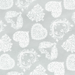 Tela loneta estampada con corazones blancos fondo gris estilo romántico