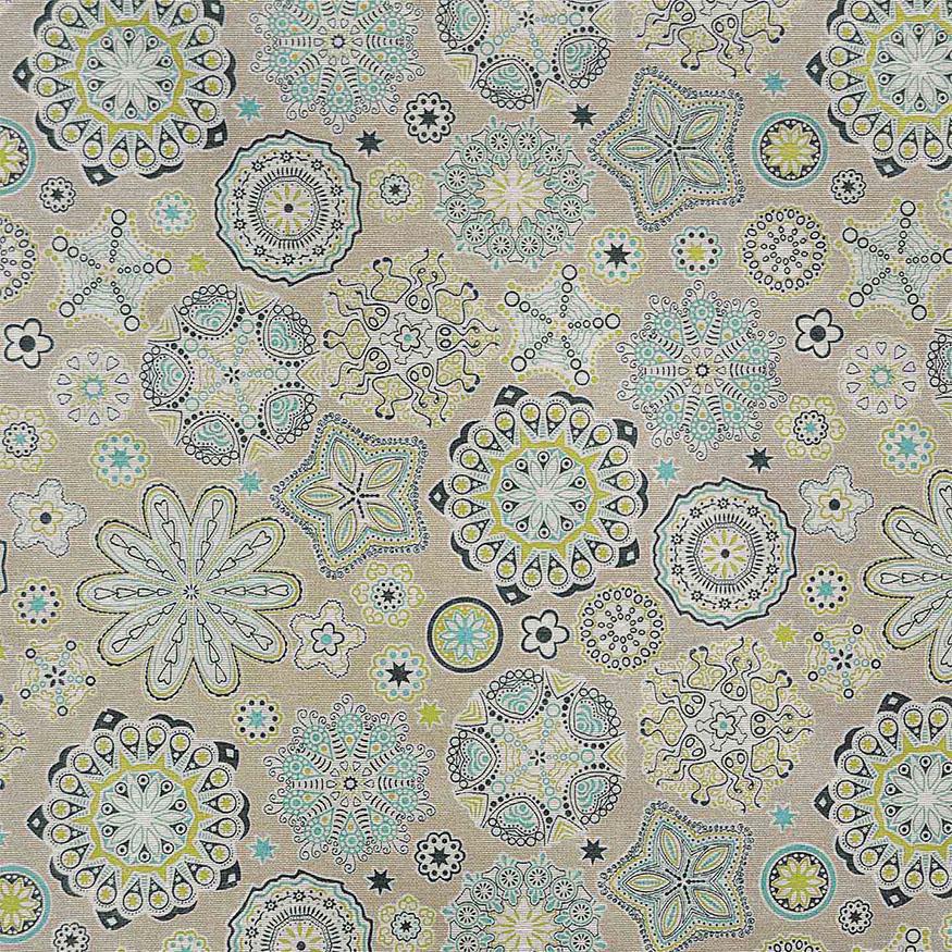 Loneta estampada flores y estrellas abstractas pistacho azul