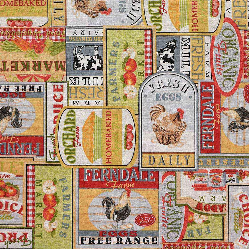 Tela loneta con motivos productos granja estilo retro