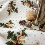 Tela loneta estampada Navidad estilo clásico piñas y estrellas