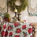 Tela loneta estampada Navidad flor de pascua estilo vintage