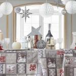 Tela loneta estampada Navidad muñecos de nieve y casitas