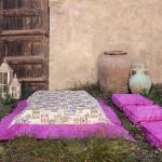 Tela loneta estampada con motivos de jardinería