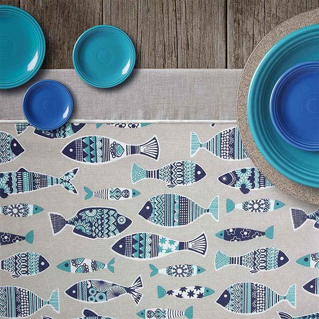 Tela loneta estampada peces azules