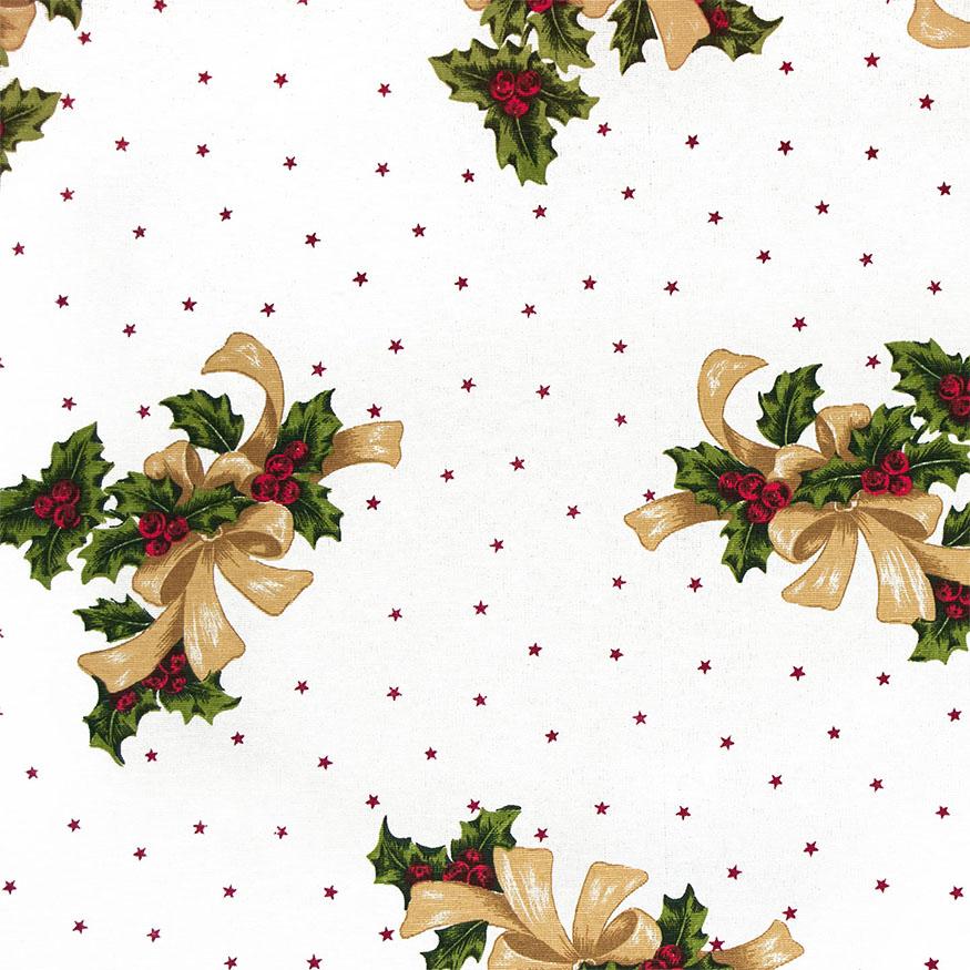 Tela loneta estampada Navidad estilo clásico piñas y estrellas fondo crudo