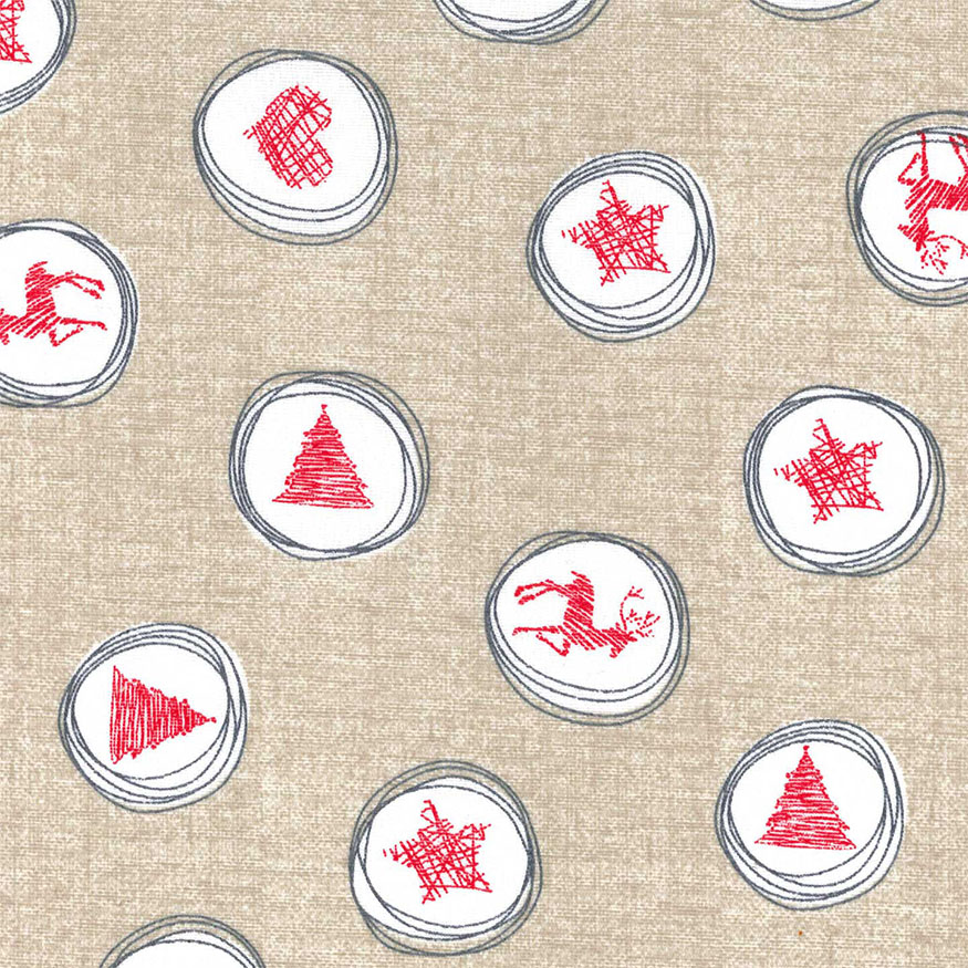 Tela loneta estampada Navidad estilo nórdico apariencia lino estrellas renos