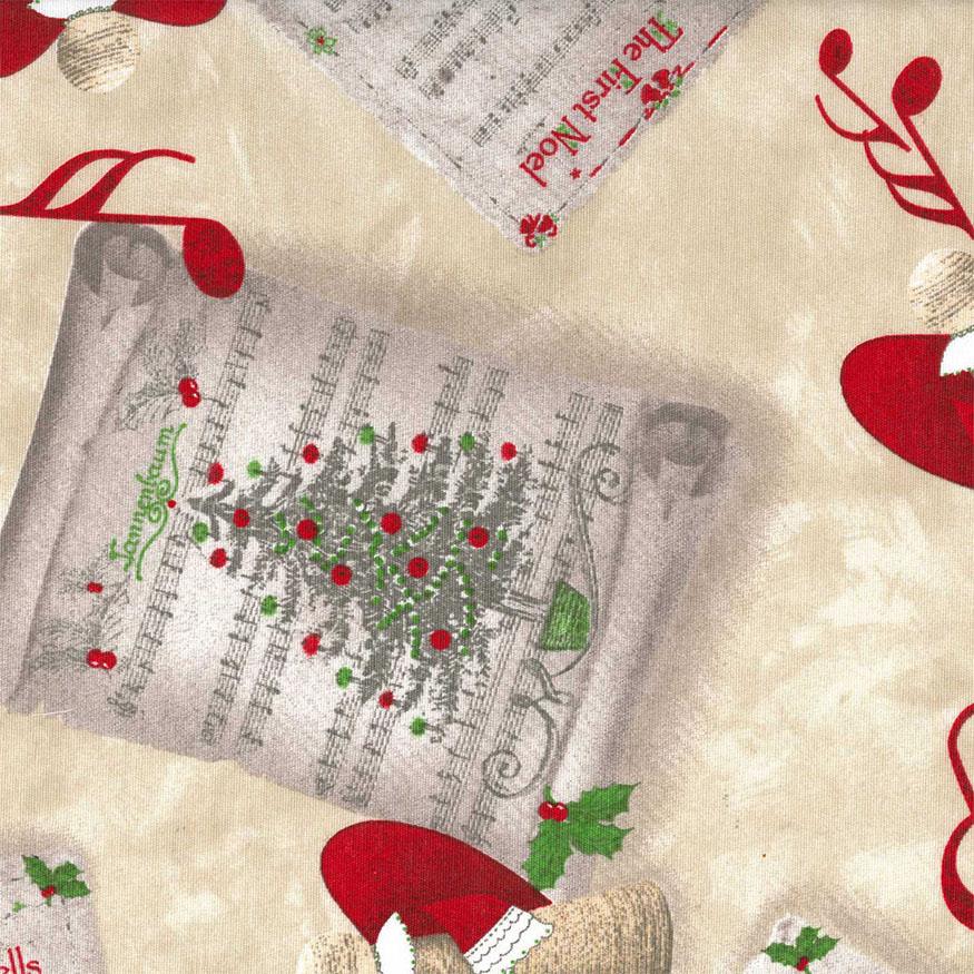 Tela loneta estampada Navidad partituras musicales fondo beige
