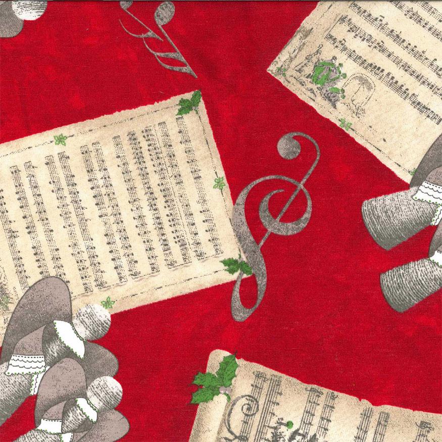 Tela loneta estampada Navidad partituras musicales