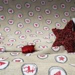 Tela loneta estampada Navidad estilo nórdico apariencia lino