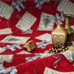 Tela loneta estampada Navidad motivos musicales ángeles