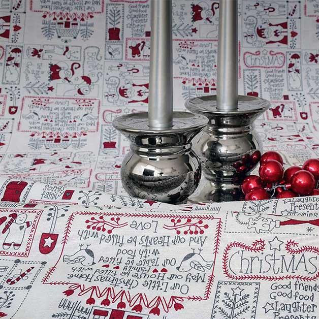 Tela loneta estampada Navidad papá noel estilo redwork