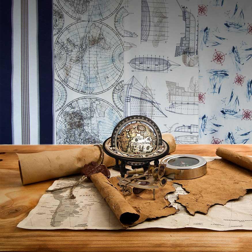 Tela loneta estampada con motivos marineros