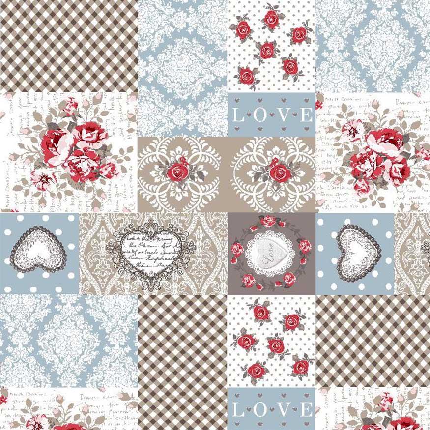 Tela loneta estampada shabby chic patchwork flores y corazones