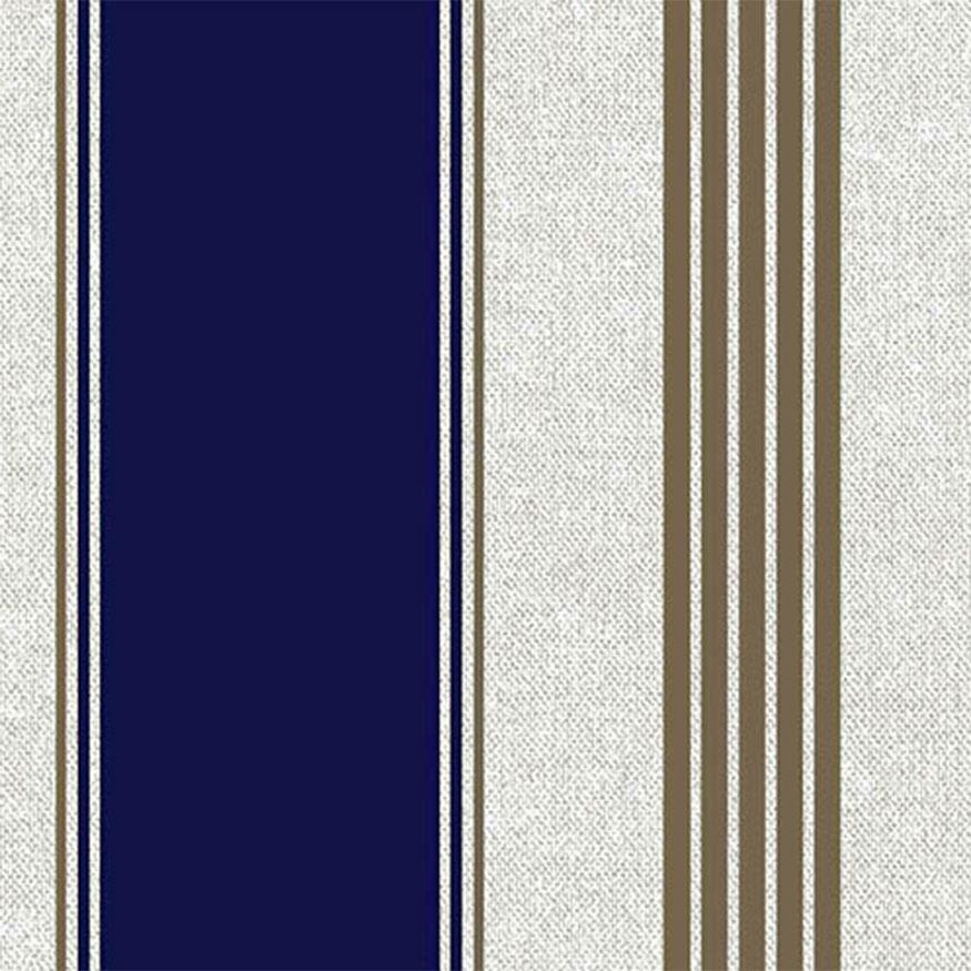 Tela loneta estampada a rayas marineras azules y doradas
