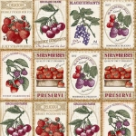 Loneta estampada con frutas estilo vintage