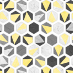 Loneta geometrica con azulejos amarillo, negro, gris