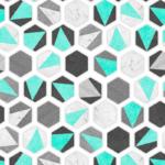 Loneta en formas geometricas de azulejos o baldosas verde menta