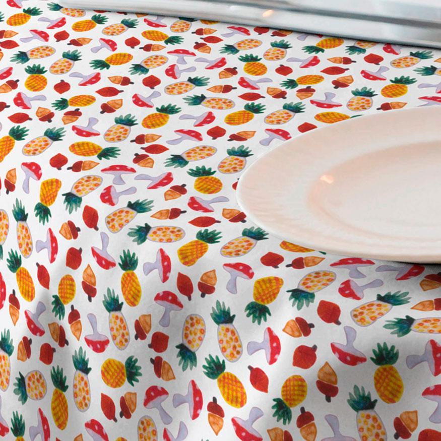 Loneta de frutas para mantel resinado