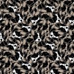 Loneta de perros estampados en blanco y negro