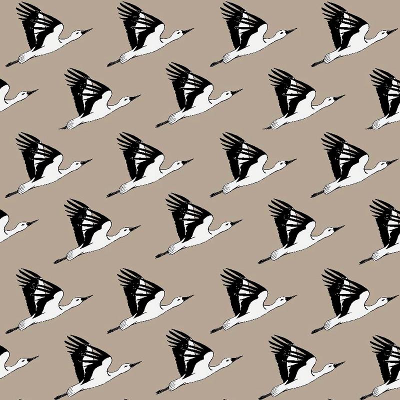 Loneta de aves para decorar en blanco y negro