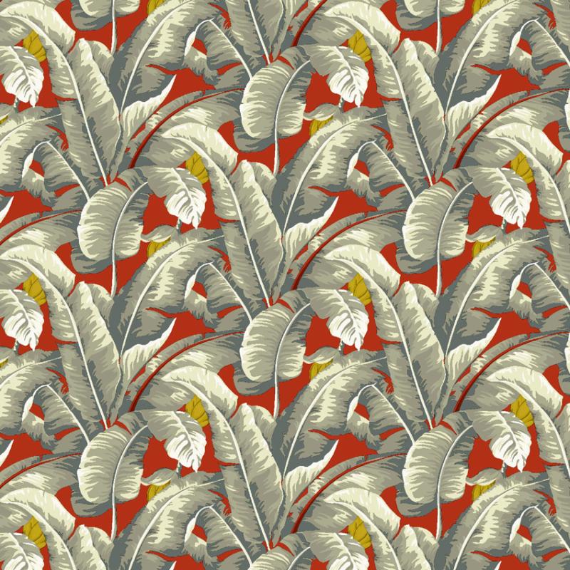 Loneta tropical de palmeras en fondo rojo