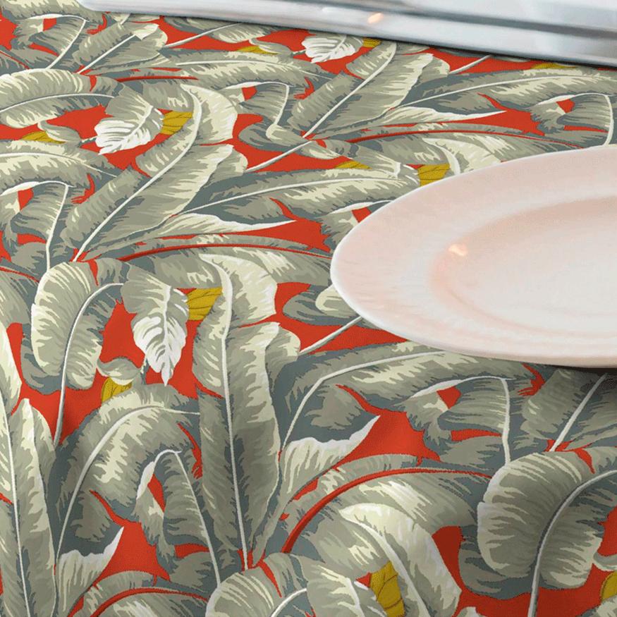 Loneta para mantel de restaurante  de palmeras