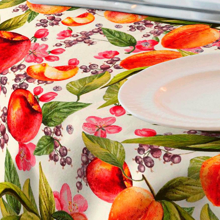 Tela estampada de frutas para mantel