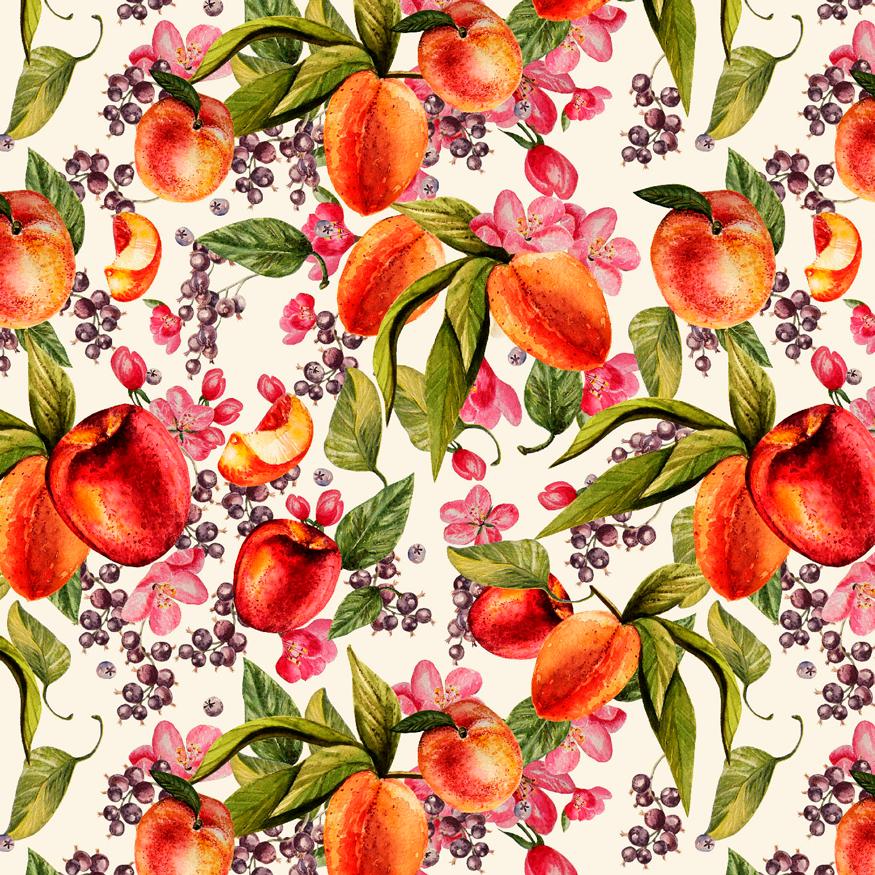 Loneta diseño frutal para decoración y confección hogar