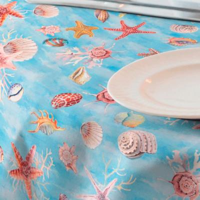Loneta para mantel resinado de elementos mariños