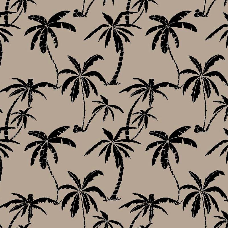 loneta de palmeras en color negro con fondo de tela beige