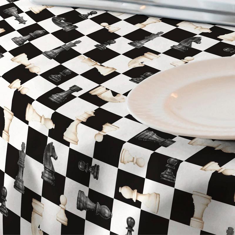 Loneta resinada de fichas de ajedrez
