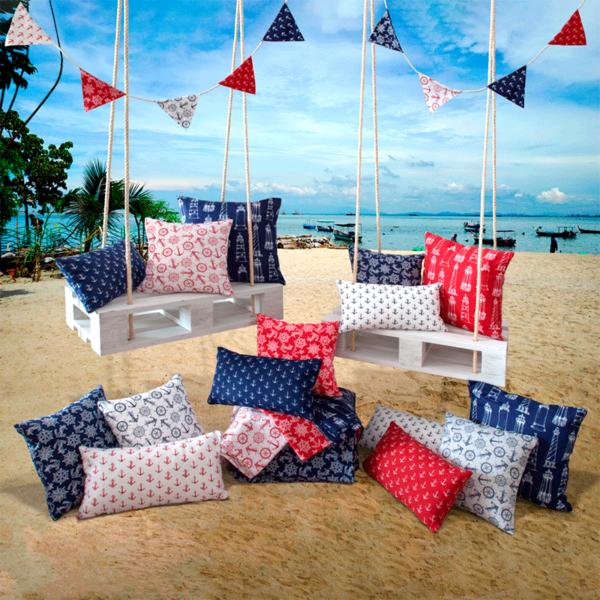 tela marinera con anclas faros tomón para decoración de hogar