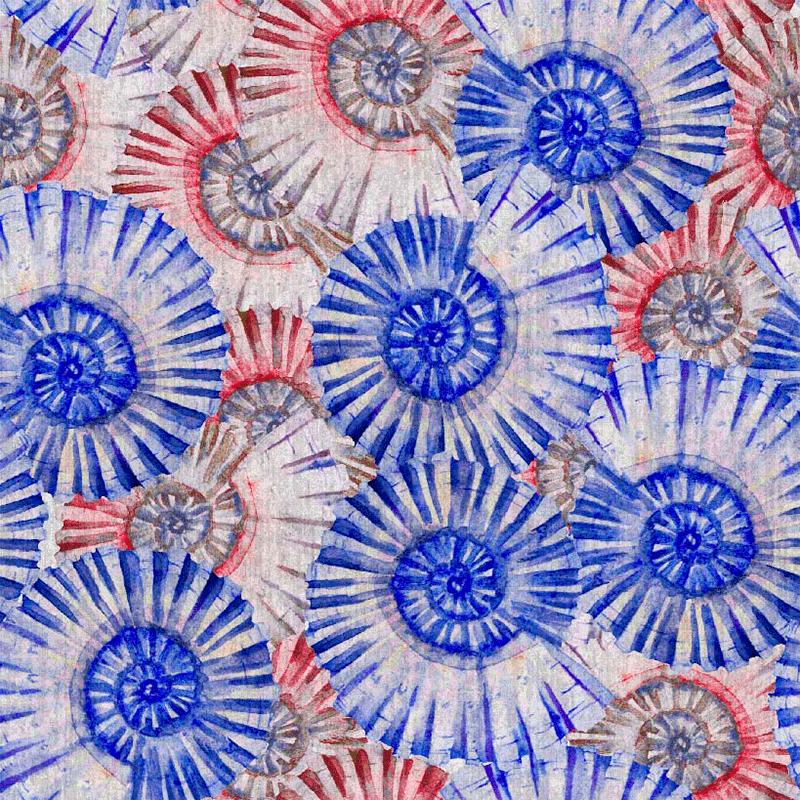tela estampada de fósiles marinos