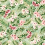 Tela de flores tropicales para decoración