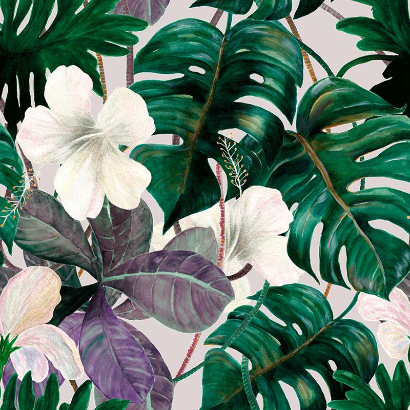 Loneta con hojas y flores para decoración