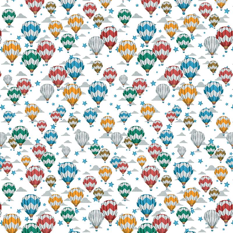 Loneta con globos aerostáticos para decoración estilo vintage