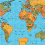 mapamundi estampado en loneta telas de mapa