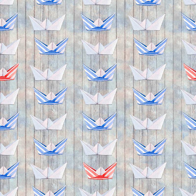 loneta con barcos de papiroflexia marineros