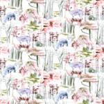 Loneta estampada con animales silvestres, colores naturales en decoración hogar