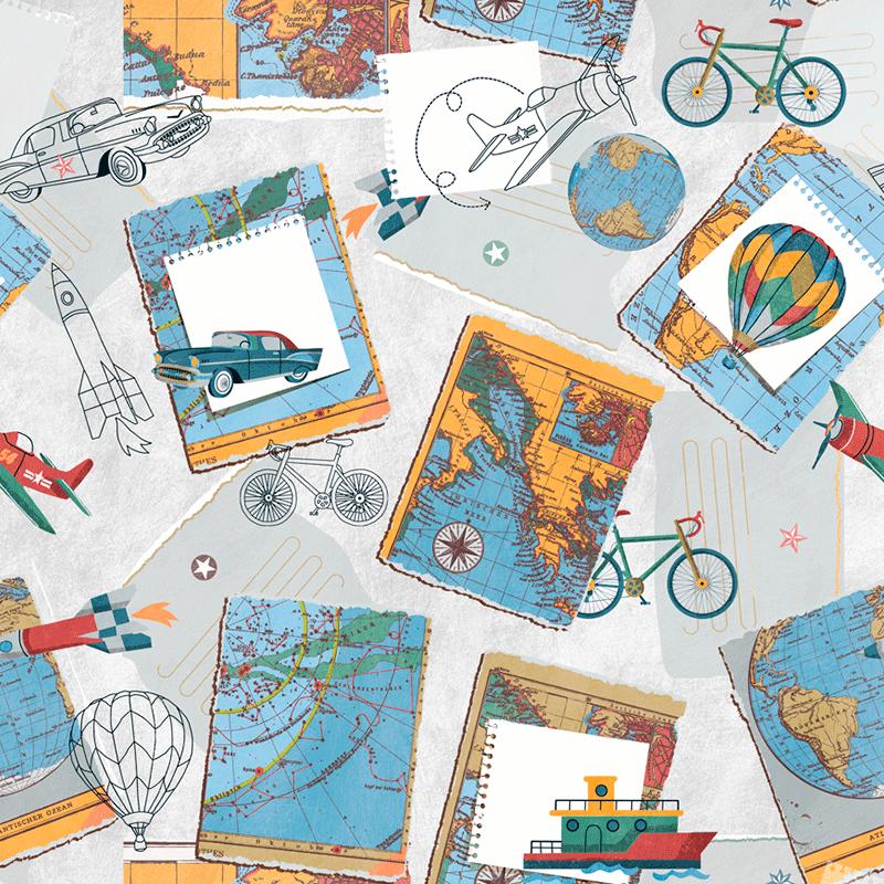 Tela estampada de postales de viajes vintage