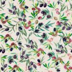loneta con olivas estampadas