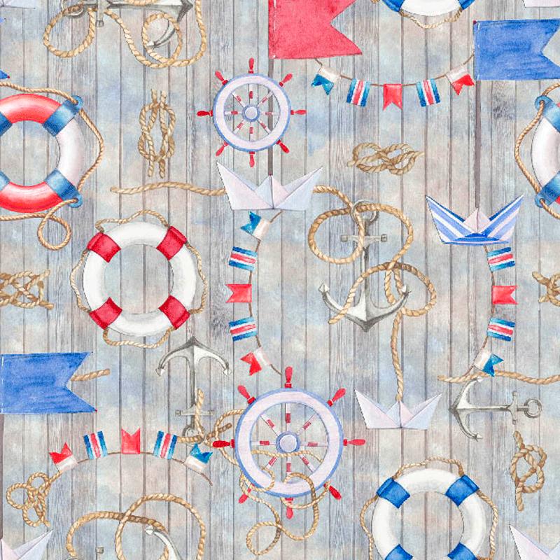 loneta estampada de anclas, barcos, nudos marineros