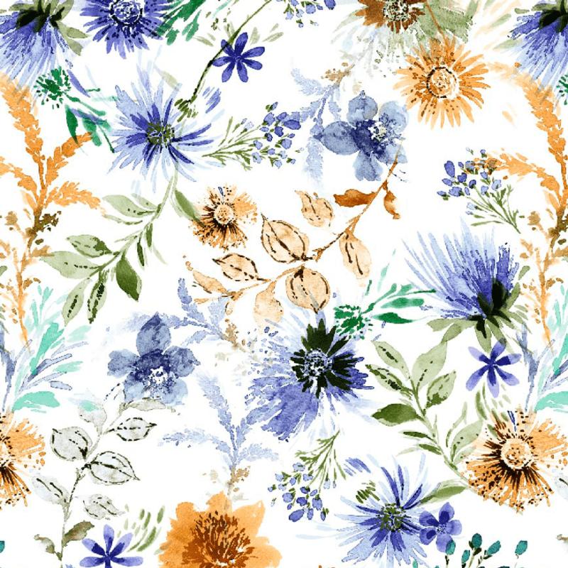 Loneta estampada con flores acuareladas
