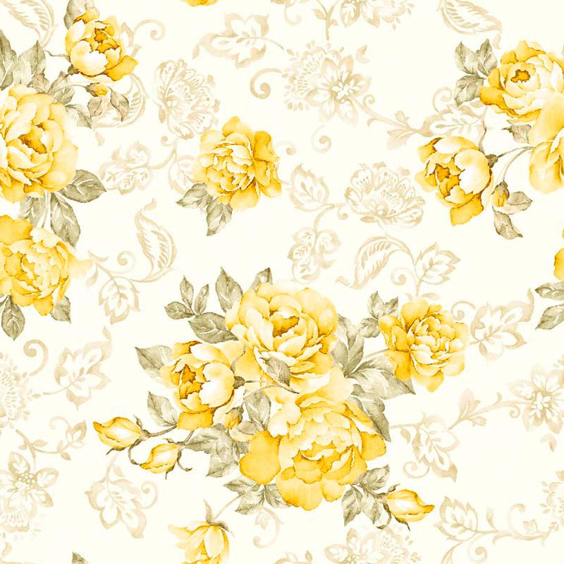 Loneta estampada de flores clásicas tipo papel pintado para decoración de interiores