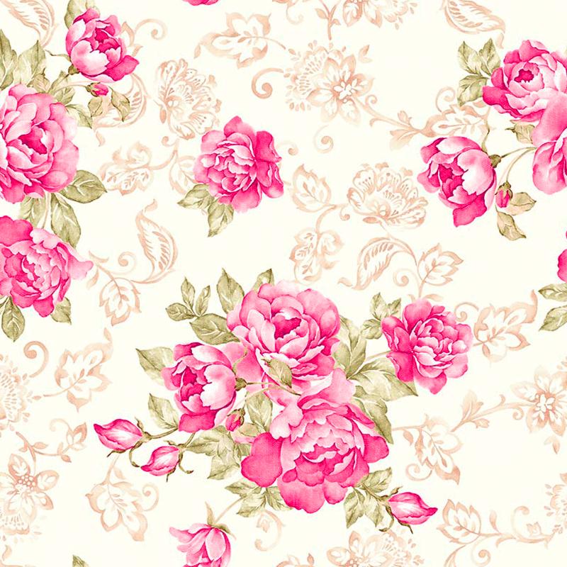Loneta estampada de flores grandes para decoración, stoffe lonetas