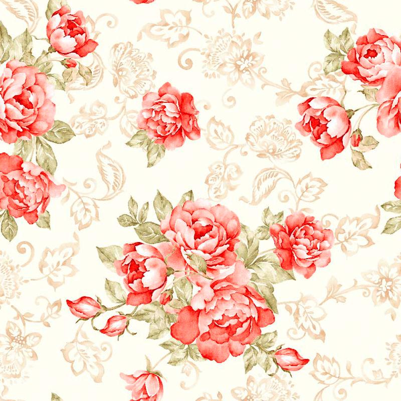 Loneta estampada de flores clásicas, telas para decoración textil hogar