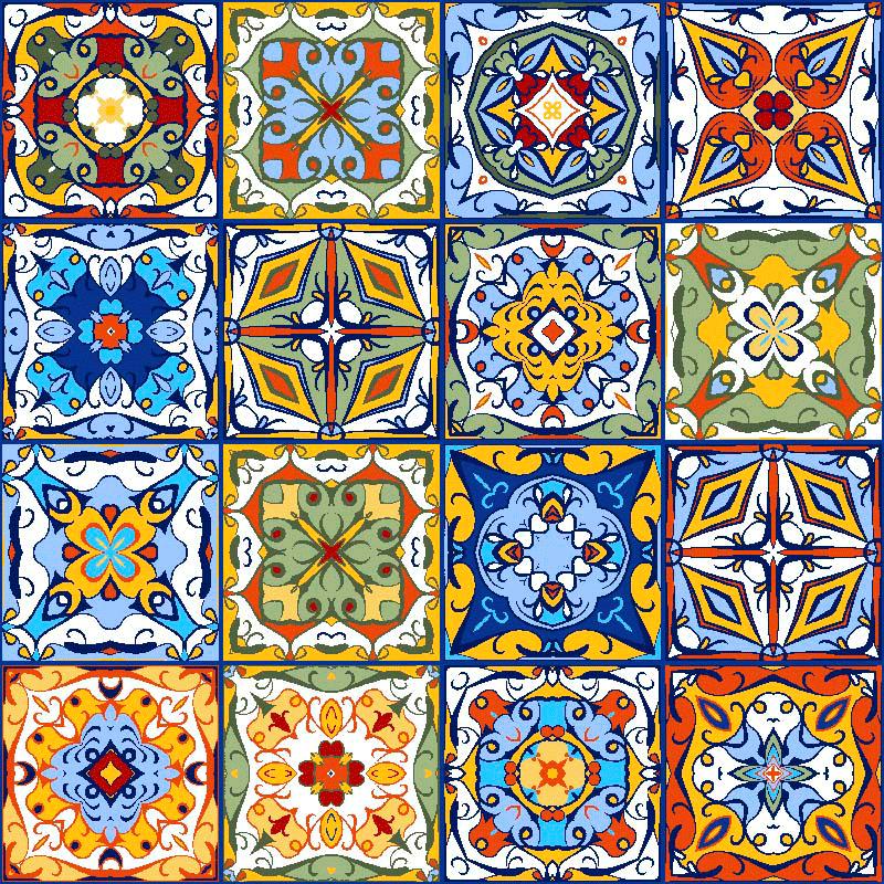 Loneta estampada para decoración mediterránea